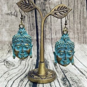 Antique Boho Gypsy Buddha Tribal Dangle Earrings